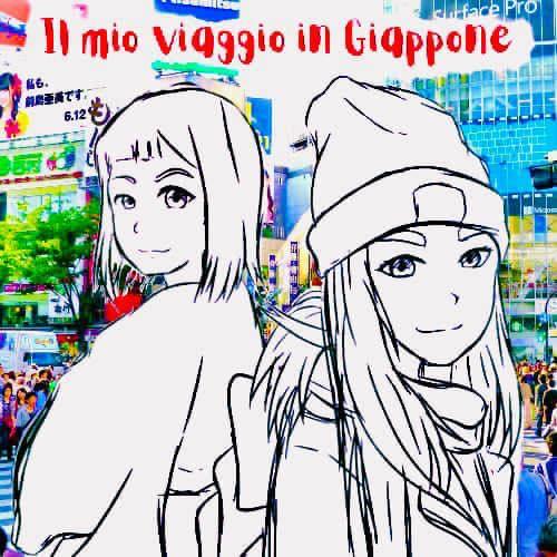 Il Logo del progetto Il mio viaggio in Giappone. Nel logo sono presenti Elina e Marzia di Traveltherapists in versione cartoon